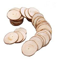 50pcs 6-7cm Wooden Slices Circles With Tree Bark Log Discs Wooden Pieces