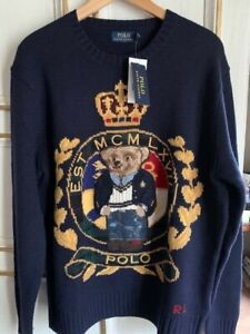 rare pull Ralph Lauren crest teddy bear ours neuf Large pour homme