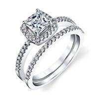 Sterling Silver CZ Engagement Wedding Ring Set Cubic Zirconia Princess Cut