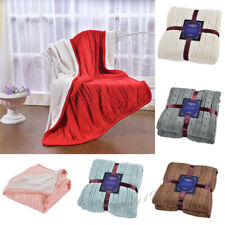 Soft Reversible Knitted Throw Blanket Fleece Warm Sofa Couch Throw Bed 120*180cm