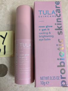 TULA Skincare ROSE GLOW + Get It Cooling & Brightening Eye Balm 10g Full Sz $30