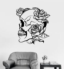 Vinyl Wall Decal Skull Roses Gothic Style Flowers Horror Stickers (977ig)