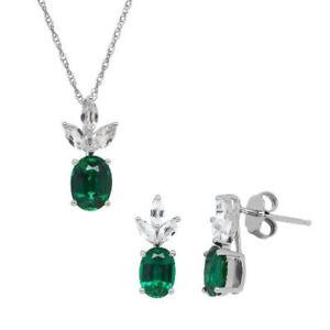 "Emerald & White Topaz Pendant 16"" Chain & Earrings Set 925 Solid Sterling Silver"
