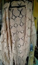 Beautiful vintage hand knitted triangle yellow shawl , hand crocheted