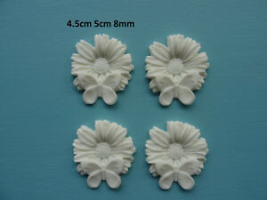 Decorative butterfly on flower x 4 furniture moulding resin onlay 034A