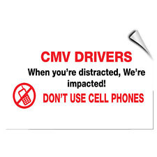 Cmv Drivers Don'T Use Mobile Business No Cell Phones LABEL DECAL STICKER