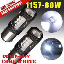 2X High Power 80W 1157 BAY15D Cool White LED Tail Brake Stop Turn Signal 1920LM