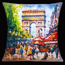 """Nuevo París Francia Arco Del Triunfo Cafe Comercial banderas de 16 """"Almohada cojín"""