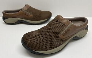 Merrell Dark Earth Brown Mesh Slip On Casual Mules Loafers Men's sz 10.5