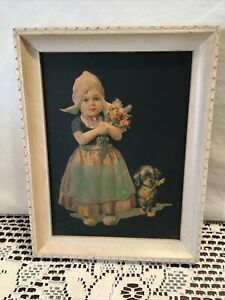 """Vintage puffy 3D Picture of Dutch Girl and Puppy 1920s 30s   9 x 7"""" Wood Frame"""