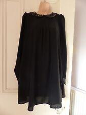 Cute little black babydoll dress from Topshop UK10, blurry animal print collar