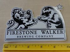BEER STICKER ~*~ FIRESTONE WALKER Brewery ~ Paso Robles, CALIFORNIA Lion vs Bear