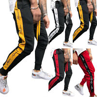 Mens Slim Fit Tracksuit Bottoms Running Jogging Joggers Gym Sweat Pants Trousers