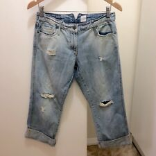 SASS & BIDE Blue DISTRESSED 'Starting Something' BOYFRIEND Ripped CROPPED Jeans
