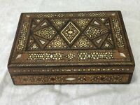 Vintage French Colonial Parquetry Inlaid Walnut Mother Pearl Jewellery Box