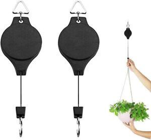 2 x RETRACTABLE HANGING BASKET PULLEY WALL BRACKET HANGING GARDEN PLANT HOOK