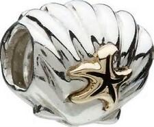 CHAMILIA 925 STERLING SILVER SHELL WITH STARFISH CHARM KC-28 NEW 14K GOLD BEAD