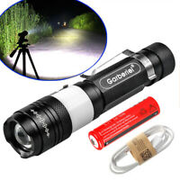 Garberiel Tactical T6 LED Flashlight Torch 3Mode Zoomable Focus USB Rechargeable