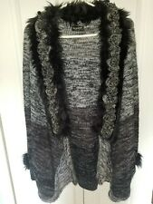 Lee Andersen Knit Cardigan Sweater Gray/black faux fur Knit flowers trim XL