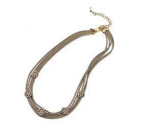 Modern Taupe Leather Multi Cords Matt Gold Diamante SnowFlake Lagenlook Necklace