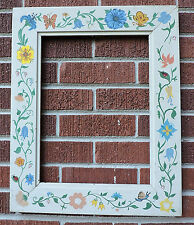 Vintage Naive HAND-PAINTED Garden Ladybug SNAILS Flowers Picture FRAME 12 x 16