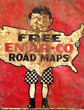 """TIN SIGN """"Free Road Maps""""  Highway Deco  Garage Wall Decor"""