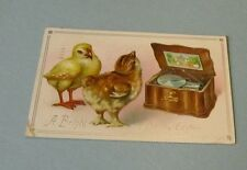 1910 Tuck's Bright and Happy Easter Embossed Holiday Postcard Chicks & Music Box