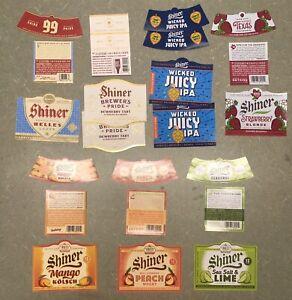9 Vintage and Current Shiner Beer Bottle Labels Assortment 99 Helles Lager