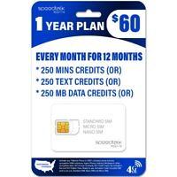 $60 Preloaded SIM card GSM Mobile SIM No Contract 1 Year Wireless Service