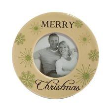 Merry Christmas 2 inch x 2 inch round Ceramic Photo Frame 10cm x 10cm