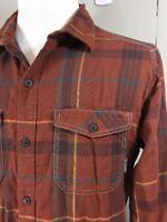 Columbia Men's Long-sleeve Button-Down Shirt Dark Orange Plaid Cotton Size XL