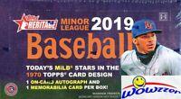 2019 Topps Heritage Minor League Baseball Factory Sealed HOBBY Box-2 AUTO/MEM