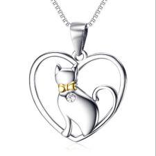 ciondolo gatto cuore dorato collana argento 925 con catena