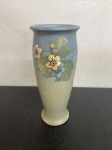 Artist Signed Weller Hudson Floral Slip Decorated Vase