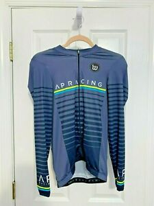 WATTIE INK Men's CYCLING FULL ZIP LONG  SLEEVE JERSEY TOP Bike Blue/Black M NEW