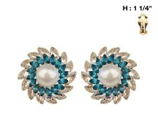 "1 1/4"" Round Cream Pearl and Blue Stone Clip-On Earrings"