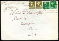 NORWAY TO USA OSLO Cancel on Cover 1950