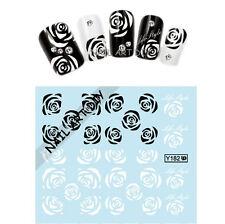 Stickers-Decals Water Transfer Flowers-Adesivi Unghie Fiori Bianchi Neri