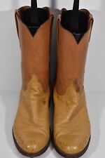 LUCCHESE MENS 10 D SMOOTH OSTRICH TAN LEATHER WESTERN ROPERS COWBOY BOOTS