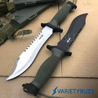 """2 PC TACTICAL SURVIVAL Rambo Hunting KNIFE Army Bowie + SHEATH 