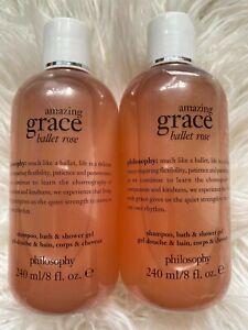 Philosophy 2 X Ballet Rose Amazing Grace Shampoo, Bath & Shower Gel 240ml New