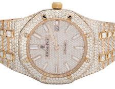 Mens Audemars Piguet 18K Rose Gold Royal Oak 41MM Full VS Diamond Watch 34.75 Ct