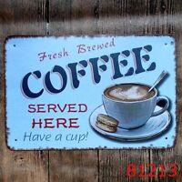 Metal Tin Sign coffee served here Bar Pub Vintage Retro Poster Cafe ART