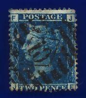 1858 SG45 2d Blue Plate 12 G2 JF Misperf London '10' Good Used CV-FU £140 cbbt