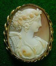 Antique Carnelian Shell Cameo Brooch Pin Flora Chloris