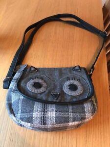 Girls Owl Material Handbag-Grey Checked- Next