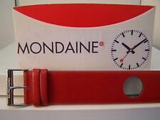 Mondaine Watch Band One Piece 24mm Wide Red Leather Loop Thru Strap w/Logo bckle
