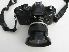 Nikon Fm 35mm Slr Film Camera, Nikkor Ai-S 24mm 1:2.8 Lens, Filter, Hood, Strap