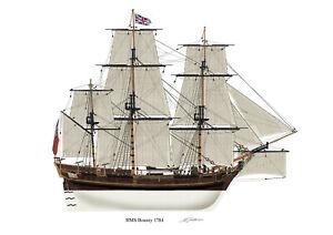 HMS Bounty 1784 British ship Profile Artwork A4 /A5 Print signed Bligh Mutiny