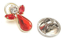 Message Angel Birthstone Ruby Crystal Pin Badge